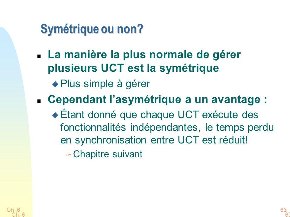 Symétrique ou non La manière la plus normale de gérer plusieurs UCT est la symétrique. Plus simple à gérer.
