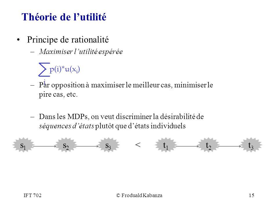 Théorie de l'utilité Principe de rationalité s1 s2 s3 < t1 t2 t3