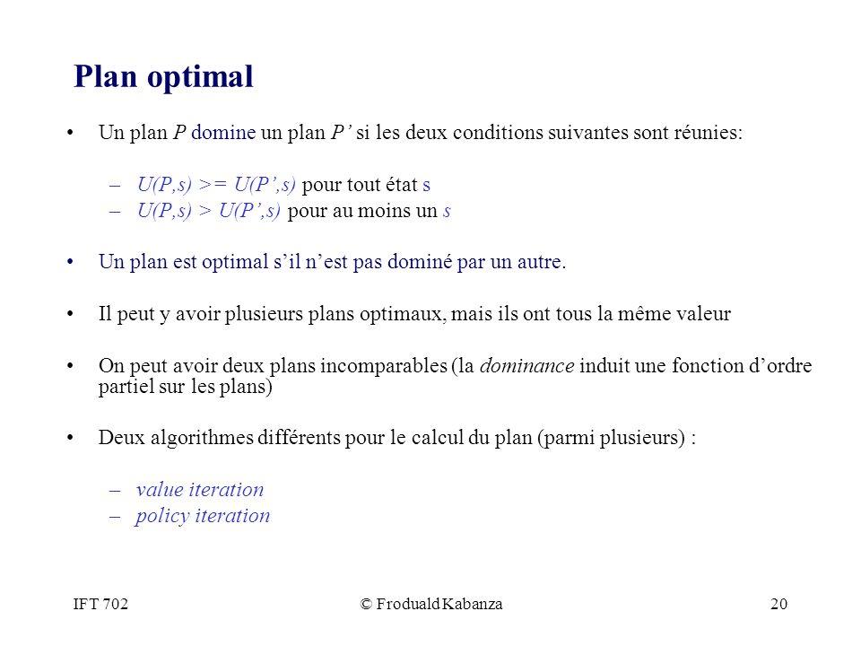 Plan optimal Un plan P domine un plan P' si les deux conditions suivantes sont réunies: U(P,s) >= U(P',s) pour tout état s.