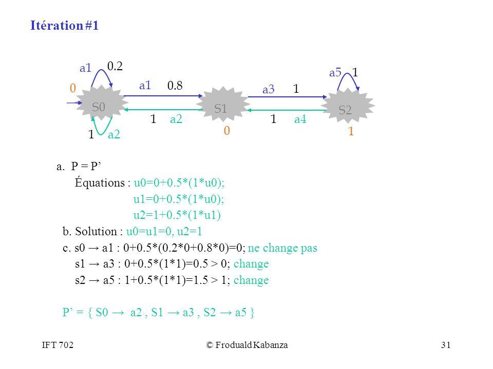 Itération #1 0.8 S2 S1 S0 a3 a1 1 a2 a4 a5 0.2 a. P = P'