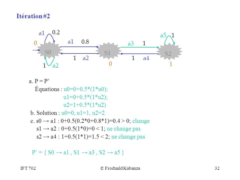 Itération #2 0.8 S2 S1 S0 a3 a1 1 a2 a4 a5 0.2 a. P = P'