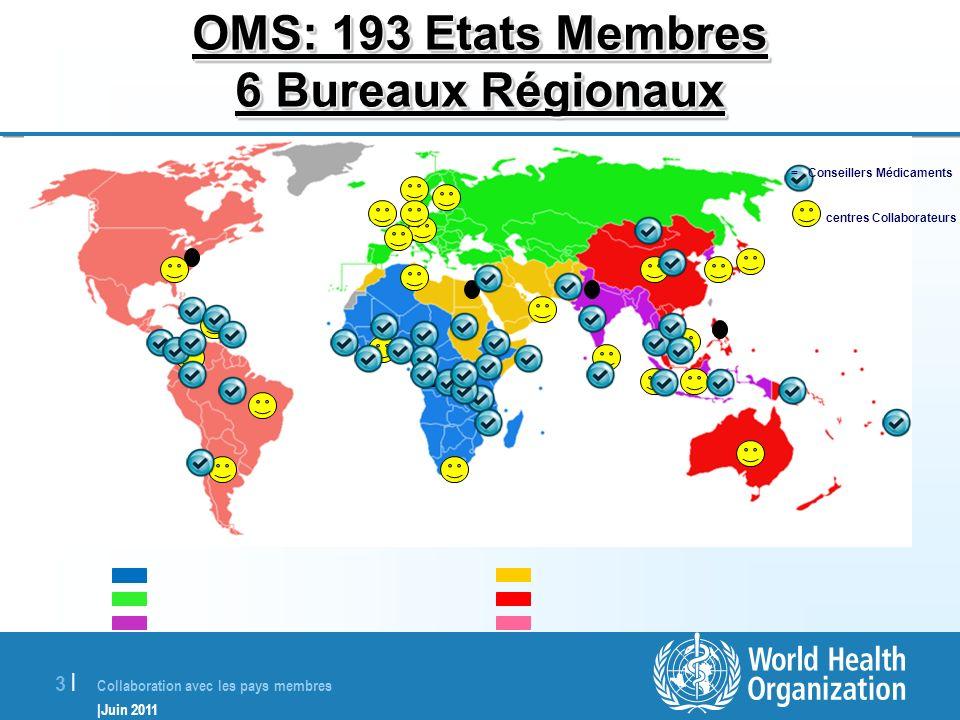 OMS: 193 Etats Membres 6 Bureaux Régionaux