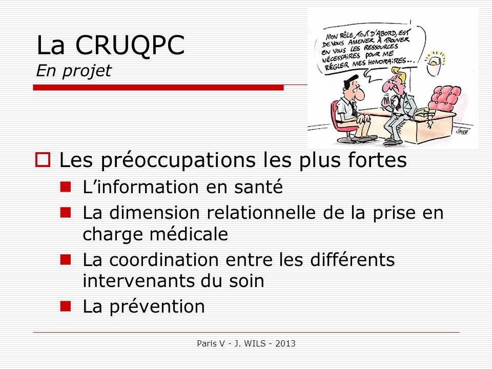 La CRUQPC En projet Les préoccupations les plus fortes