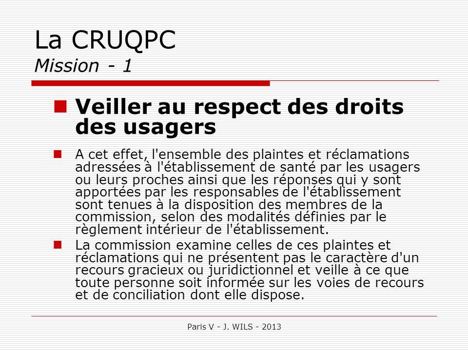 La CRUQPC Mission - 1 Veiller au respect des droits des usagers