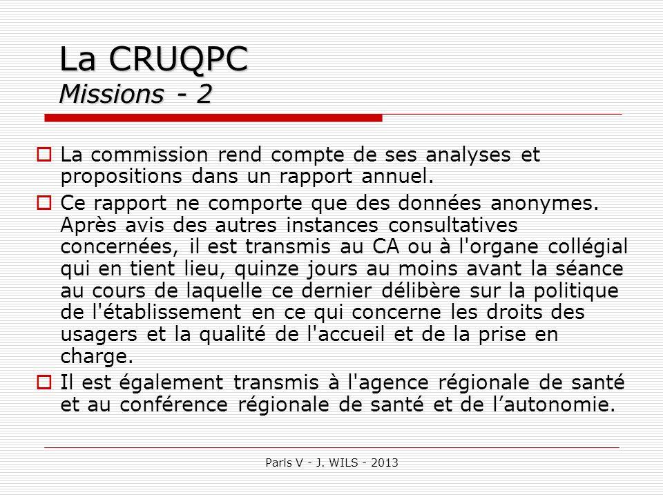 La CRUQPC Missions - 2La commission rend compte de ses analyses et propositions dans un rapport annuel.