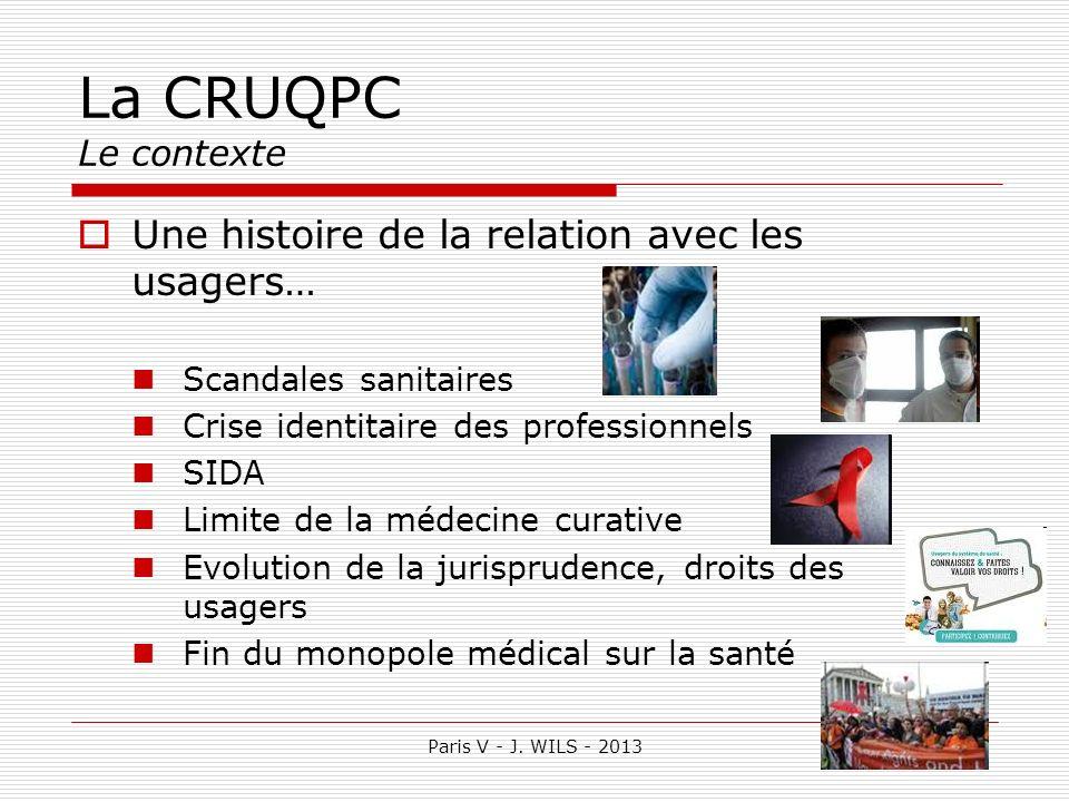 La CRUQPC Le contexte Une histoire de la relation avec les usagers…