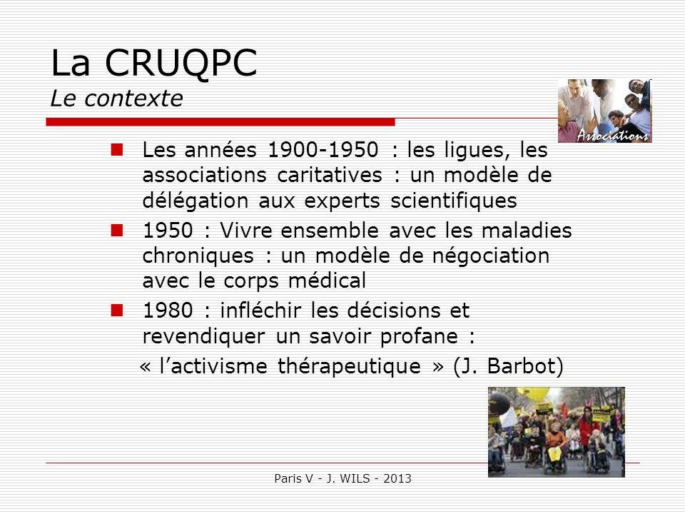 La CRUQPC Le contexteLes années 1900-1950 : les ligues, les associations caritatives : un modèle de délégation aux experts scientifiques.