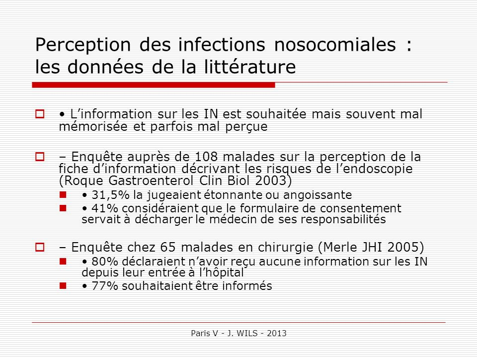 Perception des infections nosocomiales : les données de la littérature