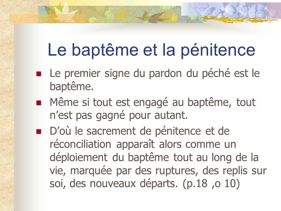 Le baptême et la pénitence