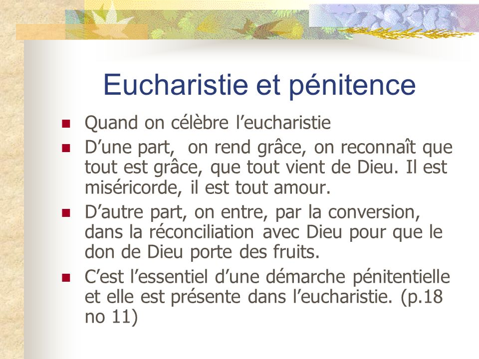 Eucharistie et pénitence