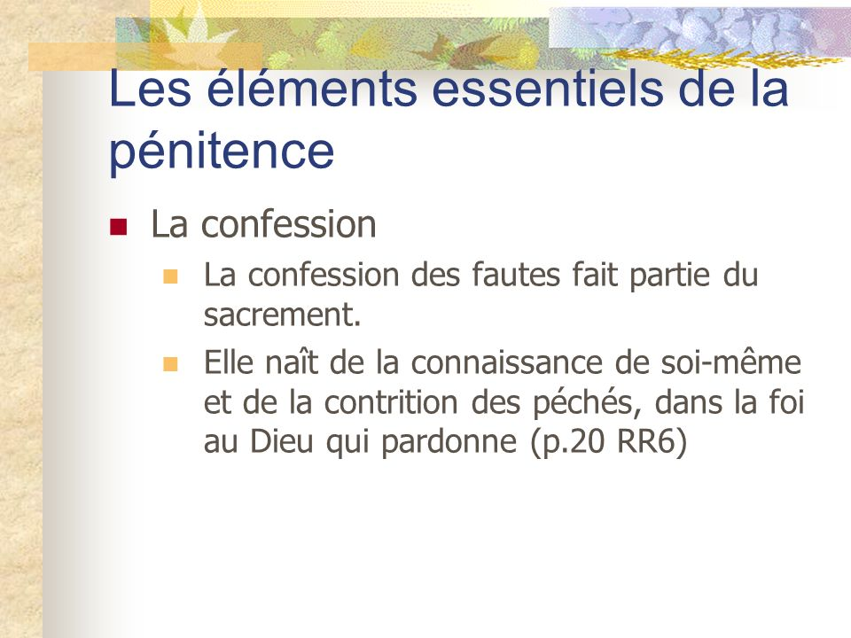 Les éléments essentiels de la pénitence