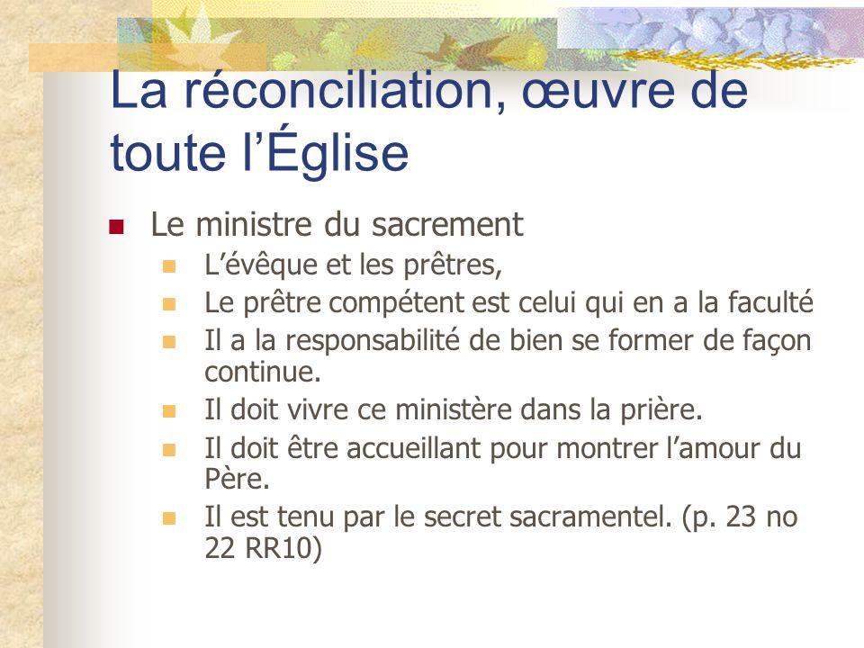 La réconciliation, œuvre de toute l'Église