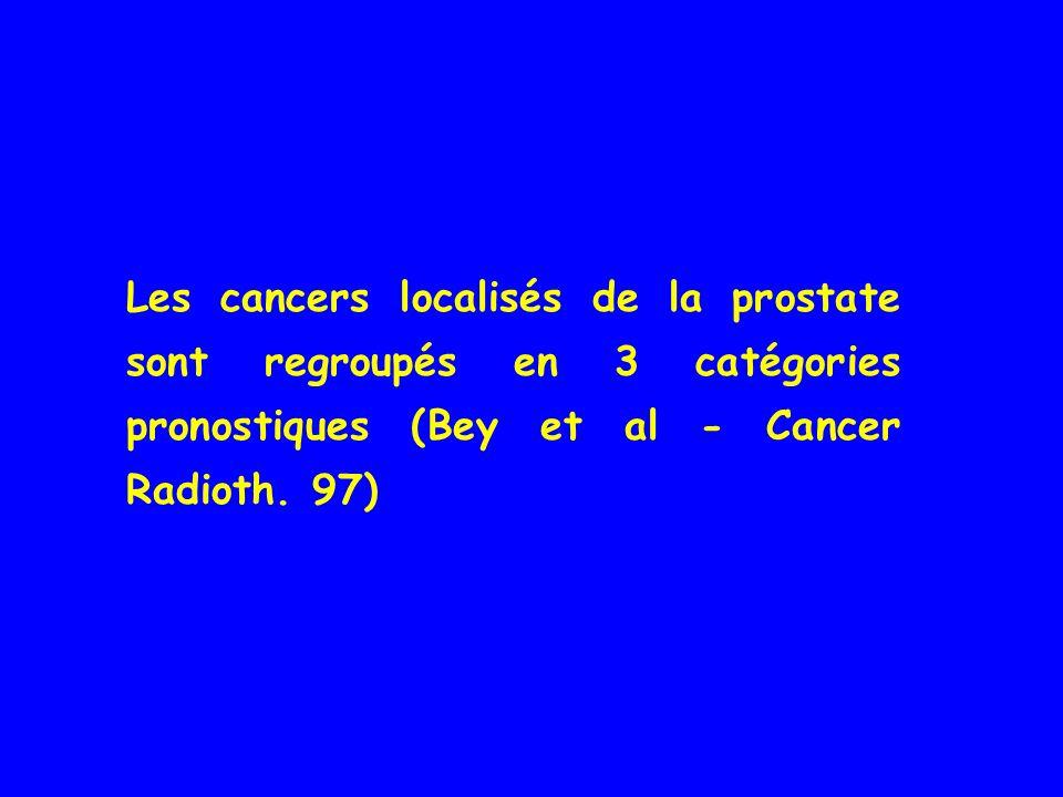 Les cancers localisés de la prostate sont regroupés en 3 catégories pronostiques (Bey et al - Cancer Radioth.
