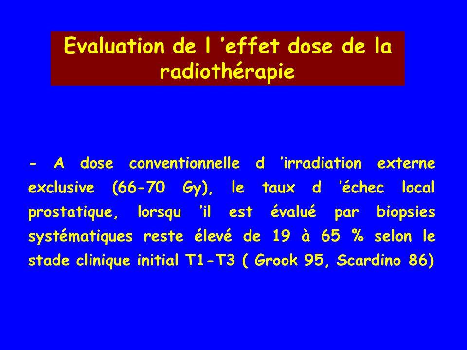 Evaluation de l 'effet dose de la radiothérapie