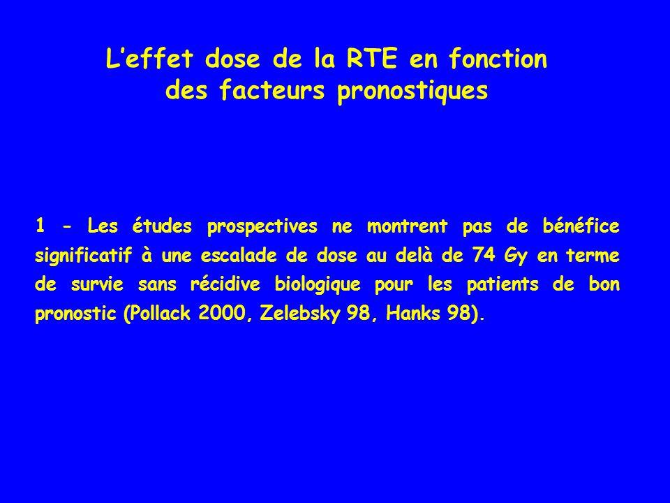 L'effet dose de la RTE en fonction des facteurs pronostiques