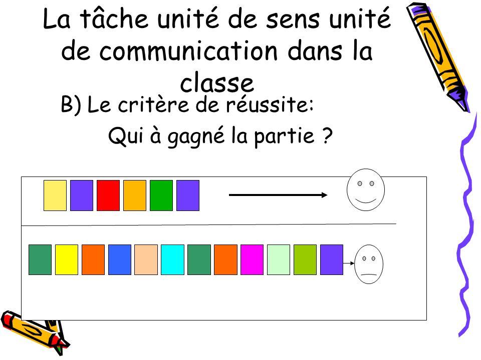 La tâche unité de sens unité de communication dans la classe