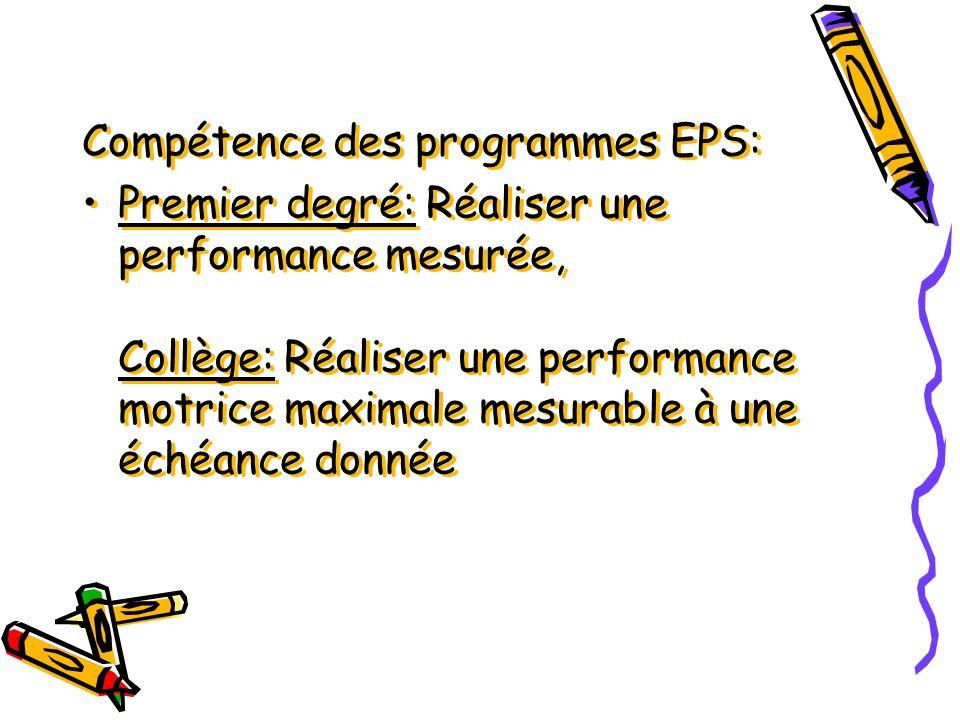 Compétence des programmes EPS: