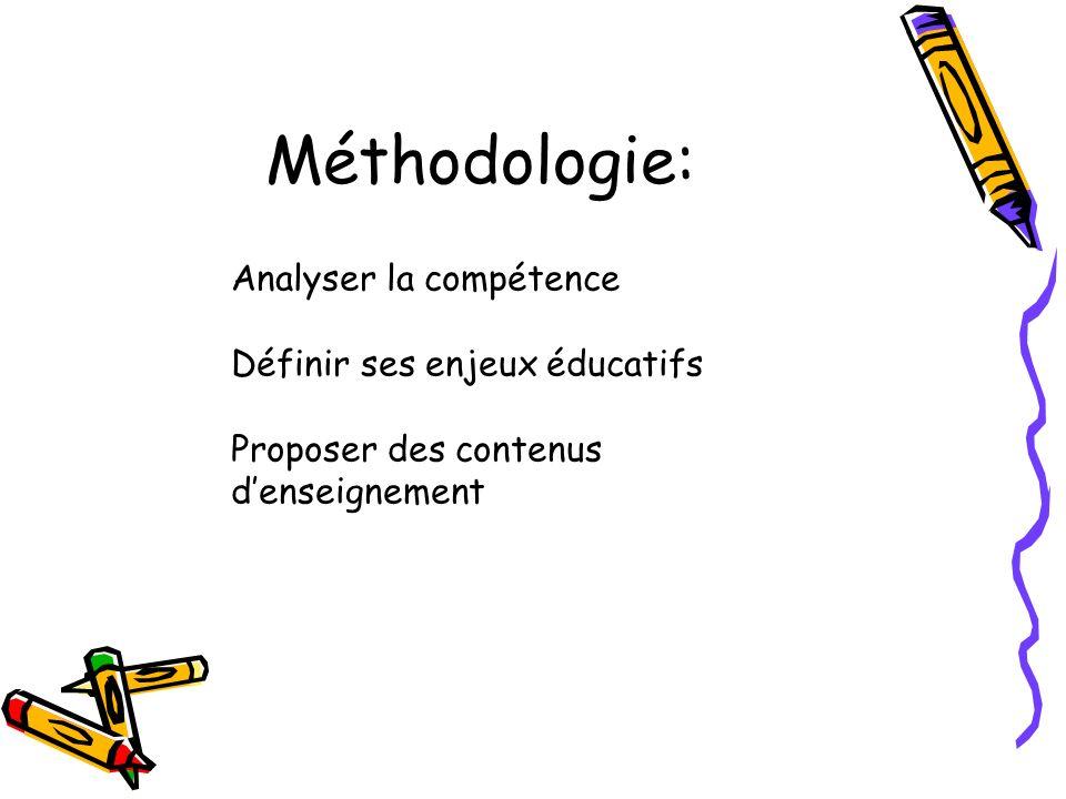 Méthodologie: Analyser la compétence Définir ses enjeux éducatifs