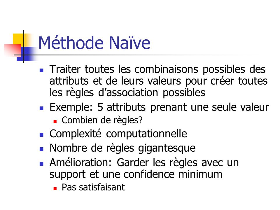 Méthode Naïve Traiter toutes les combinaisons possibles des attributs et de leurs valeurs pour créer toutes les règles d'association possibles.