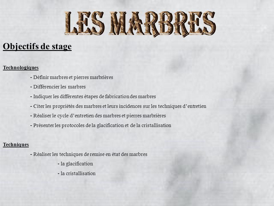 LES MARBRES Objectifs de stage Technologiques