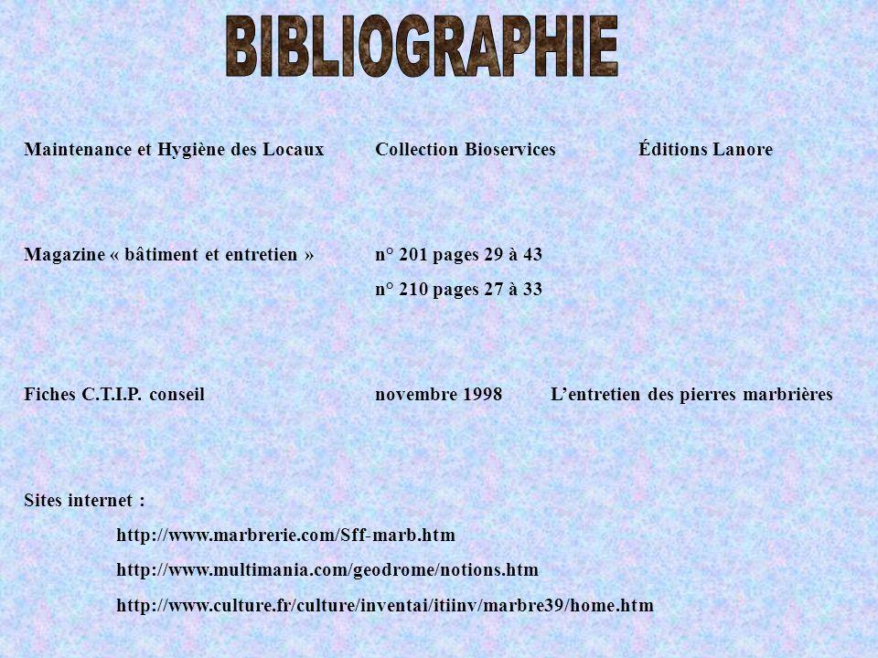 BIBLIOGRAPHIE Maintenance et Hygiène des Locaux Collection Bioservices Éditions Lanore. Magazine « bâtiment et entretien » n° 201 pages 29 à 43.