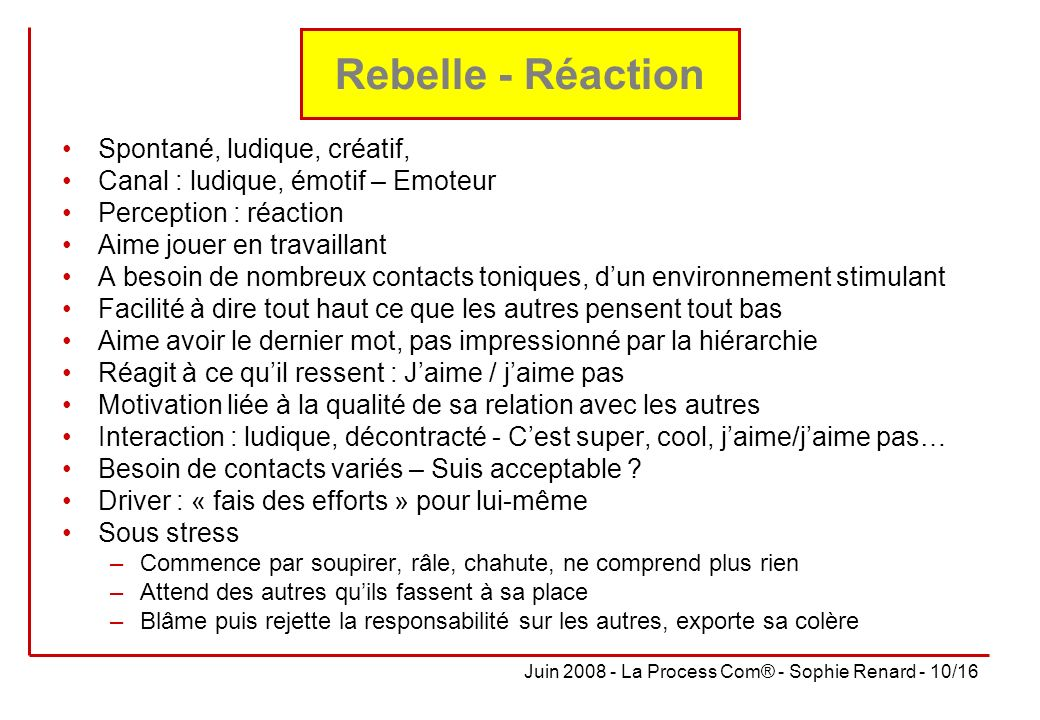 Rebelle - Réaction Spontané, ludique, créatif,