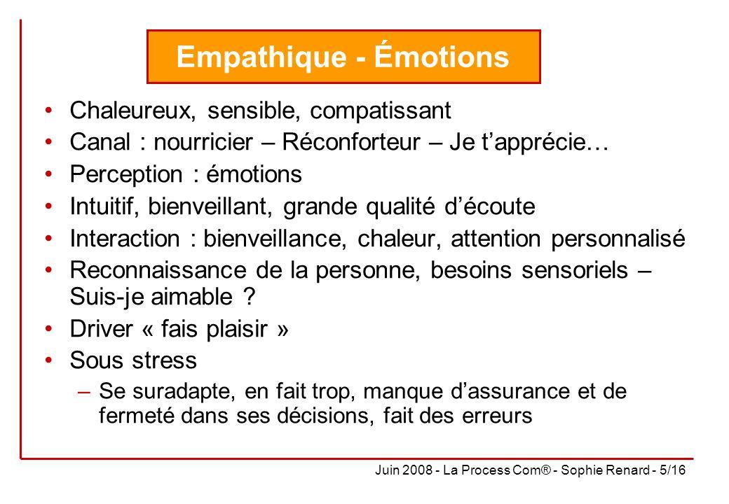Empathique - Émotions Chaleureux, sensible, compatissant