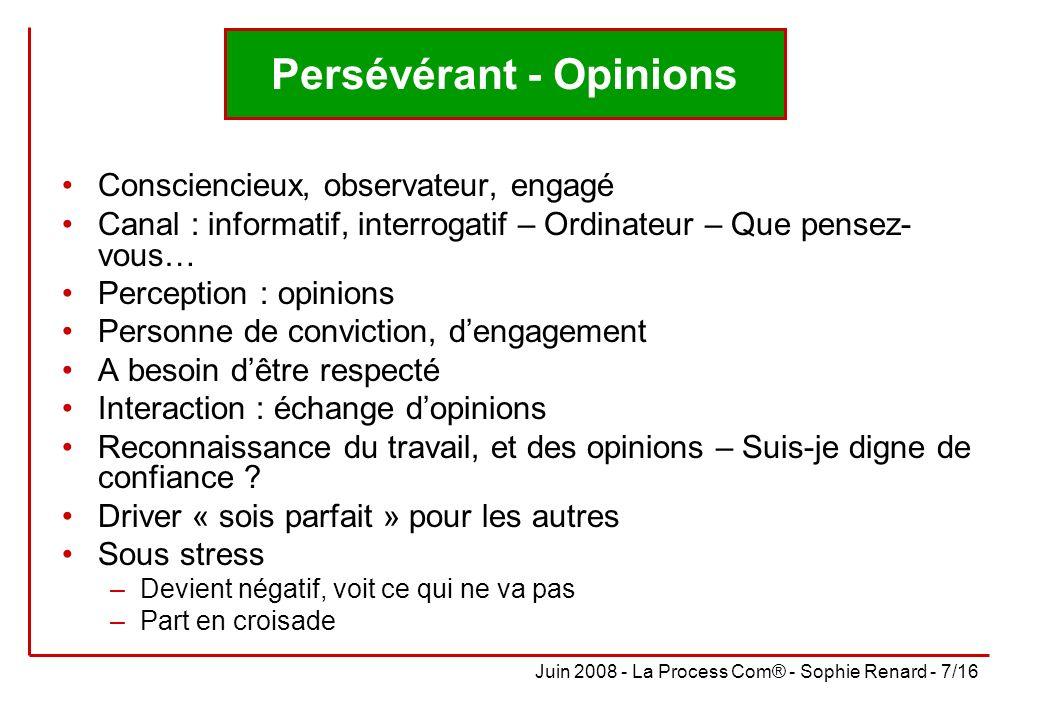 Persévérant - Opinions