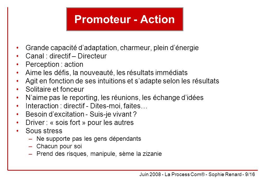 Promoteur - Action Grande capacité d'adaptation, charmeur, plein d'énergie. Canal : directif – Directeur.