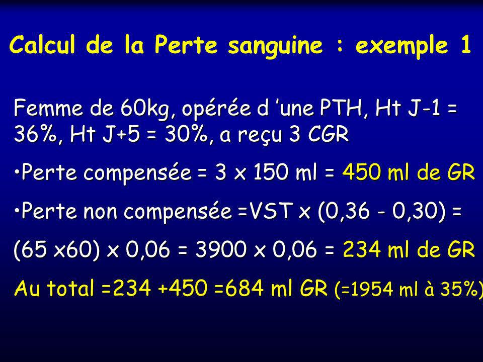 Calcul de la Perte sanguine : exemple 1