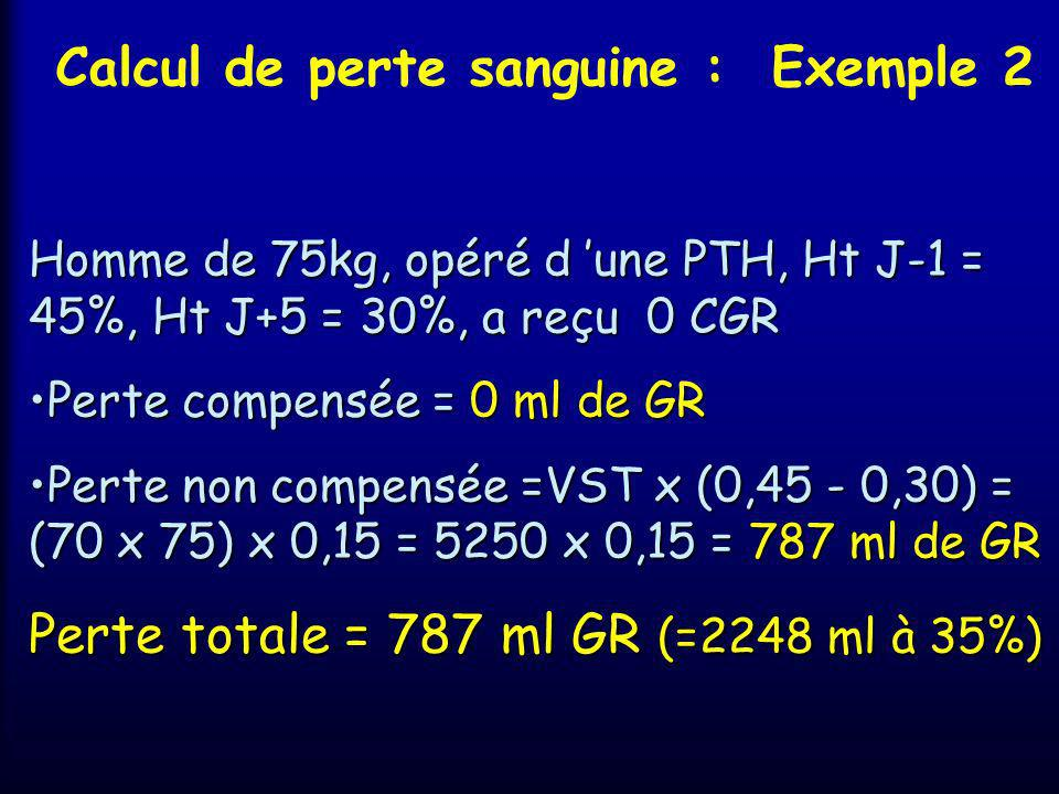 Calcul de perte sanguine : Exemple 2