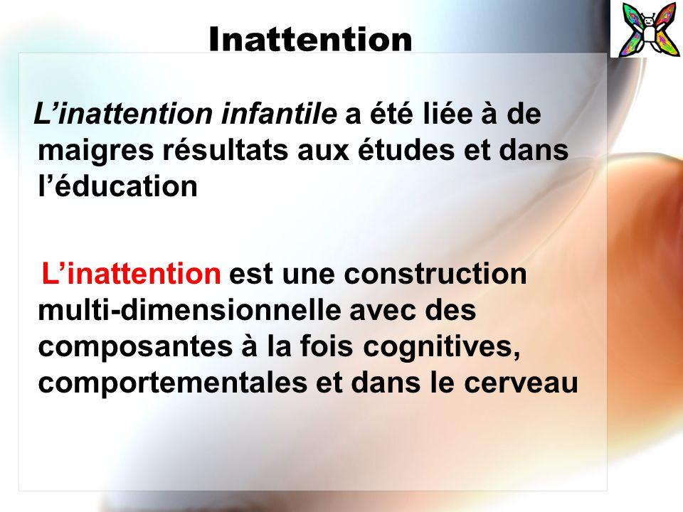 Inattention L'inattention infantile a été liée à de maigres résultats aux études et dans l'éducation.