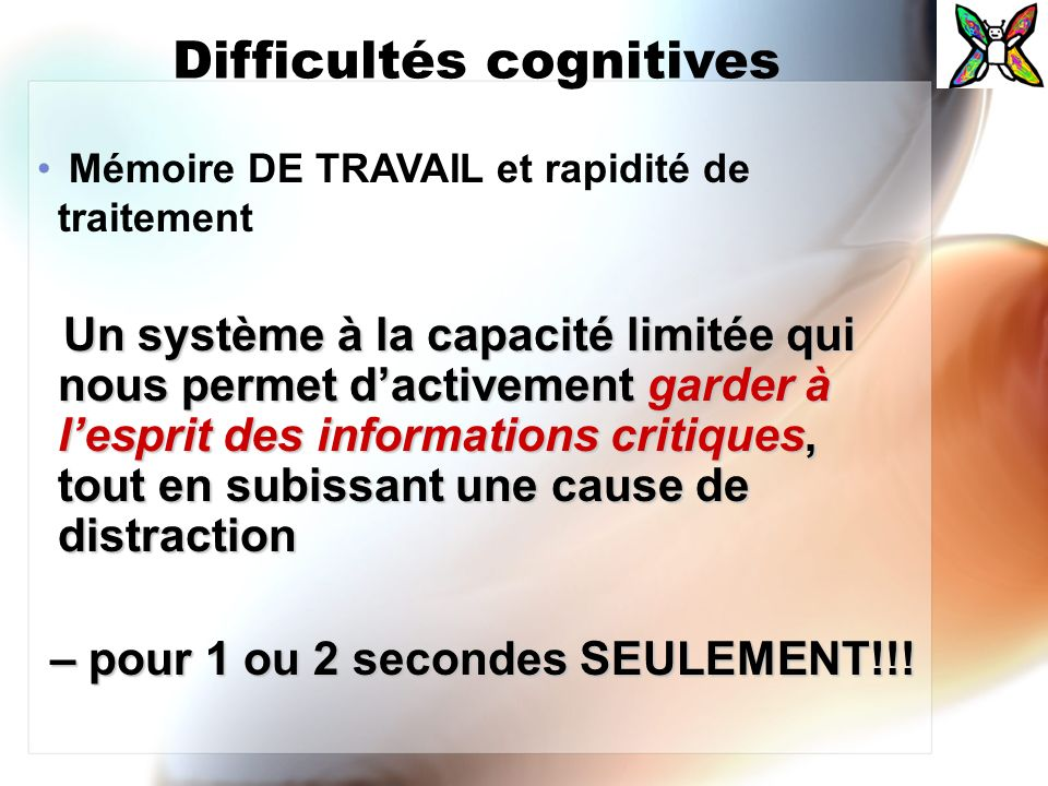 Difficultés cognitives