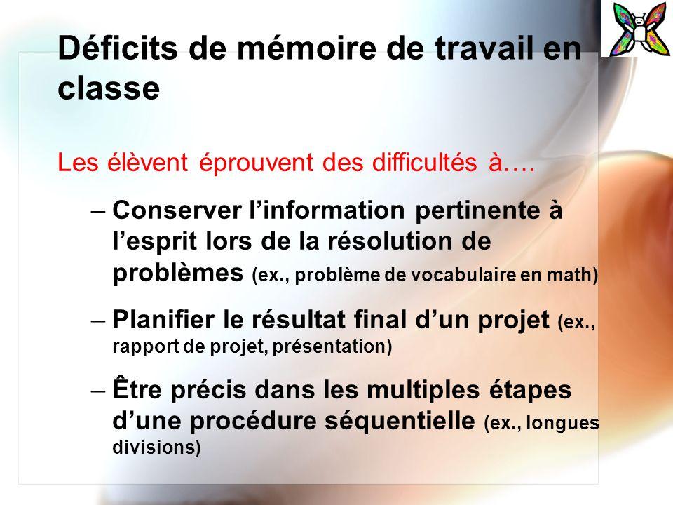 Déficits de mémoire de travail en classe