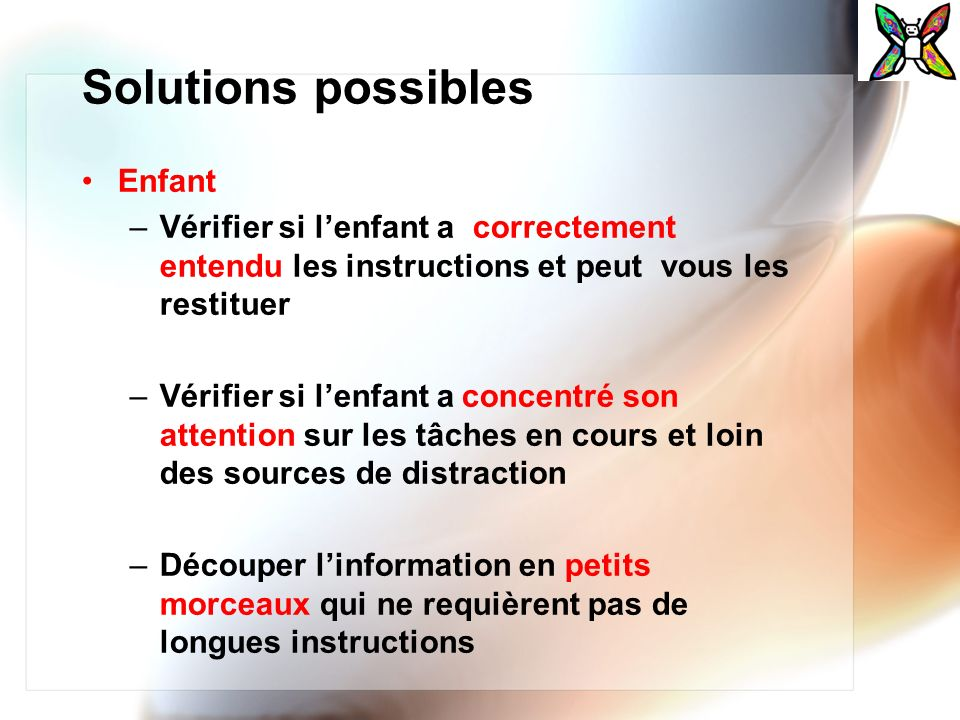Solutions possibles Enfant