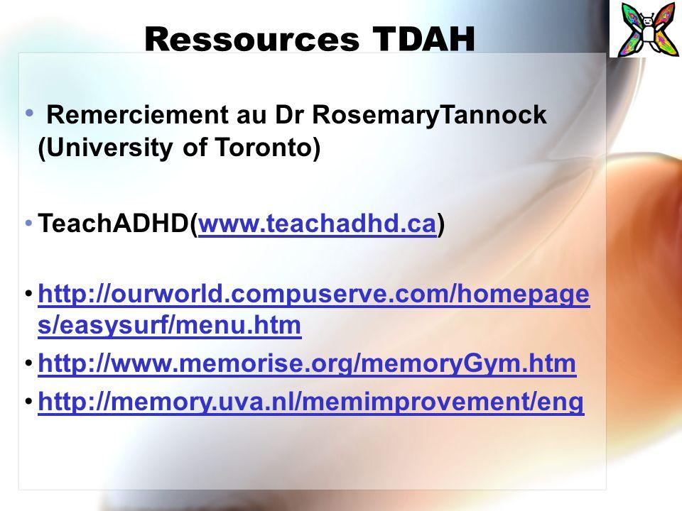 Ressources TDAH Remerciement au Dr RosemaryTannock (University of Toronto) TeachADHD(www.teachadhd.ca)