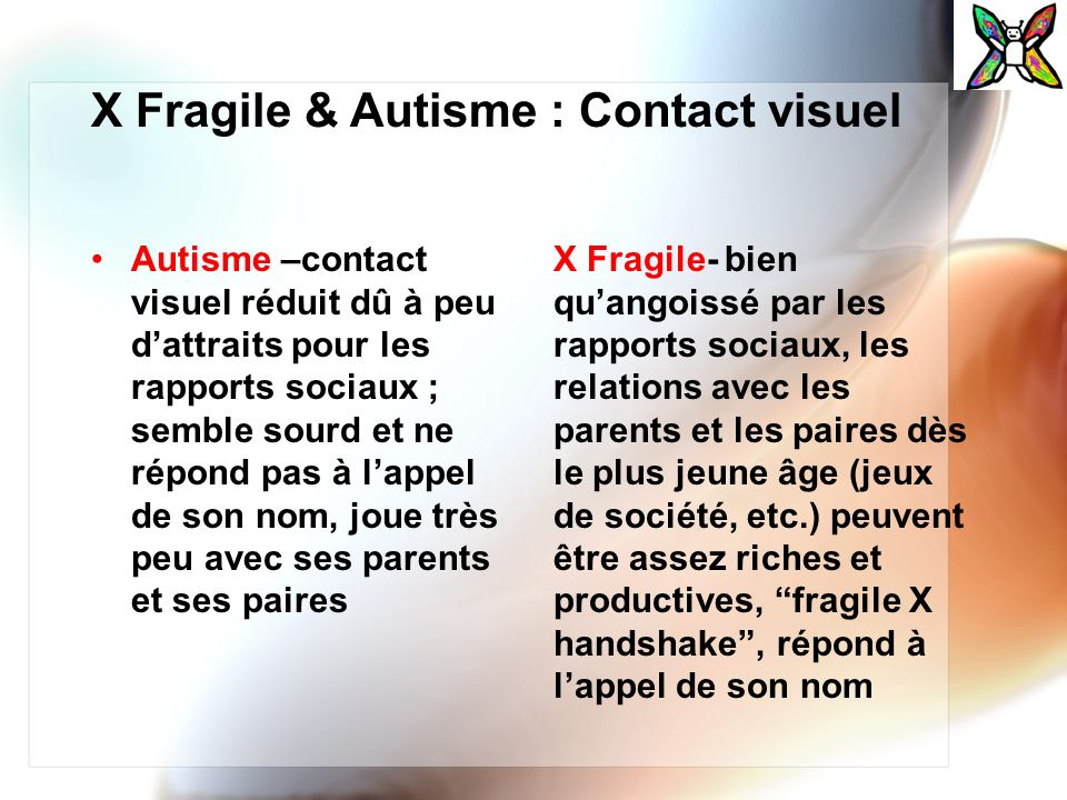X Fragile & Autisme : Contact visuel