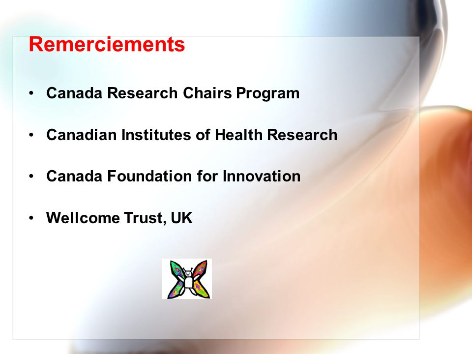 Remerciements Canada Research Chairs Program