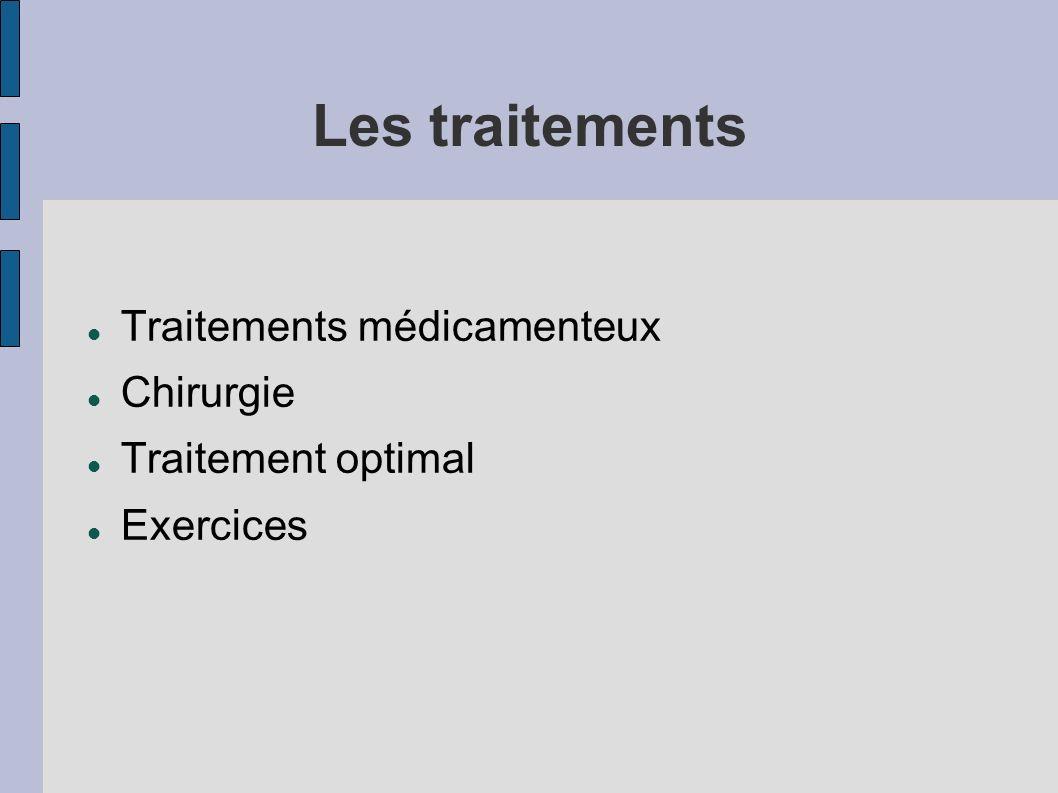 Les traitements Traitements médicamenteux Chirurgie Traitement optimal