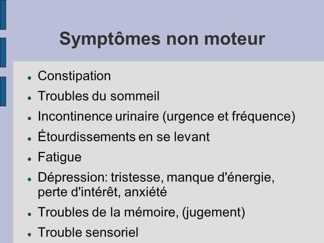 Symptômes non moteur Constipation Troubles du sommeil