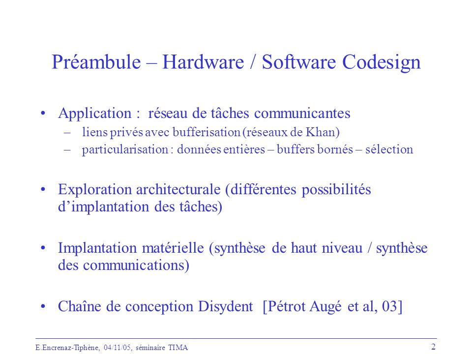 Préambule – Hardware / Software Codesign