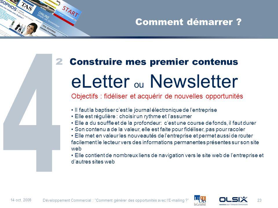 eLetter ou Newsletter 4 2 Comment démarrer