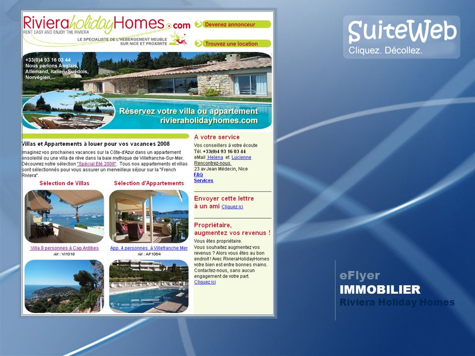 eFlyer IMMOBILIER Riviera Holiday Homes
