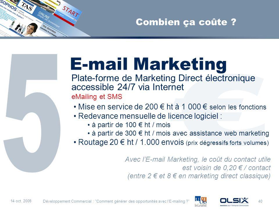 € E-mail Marketing 5 Combien ça coûte