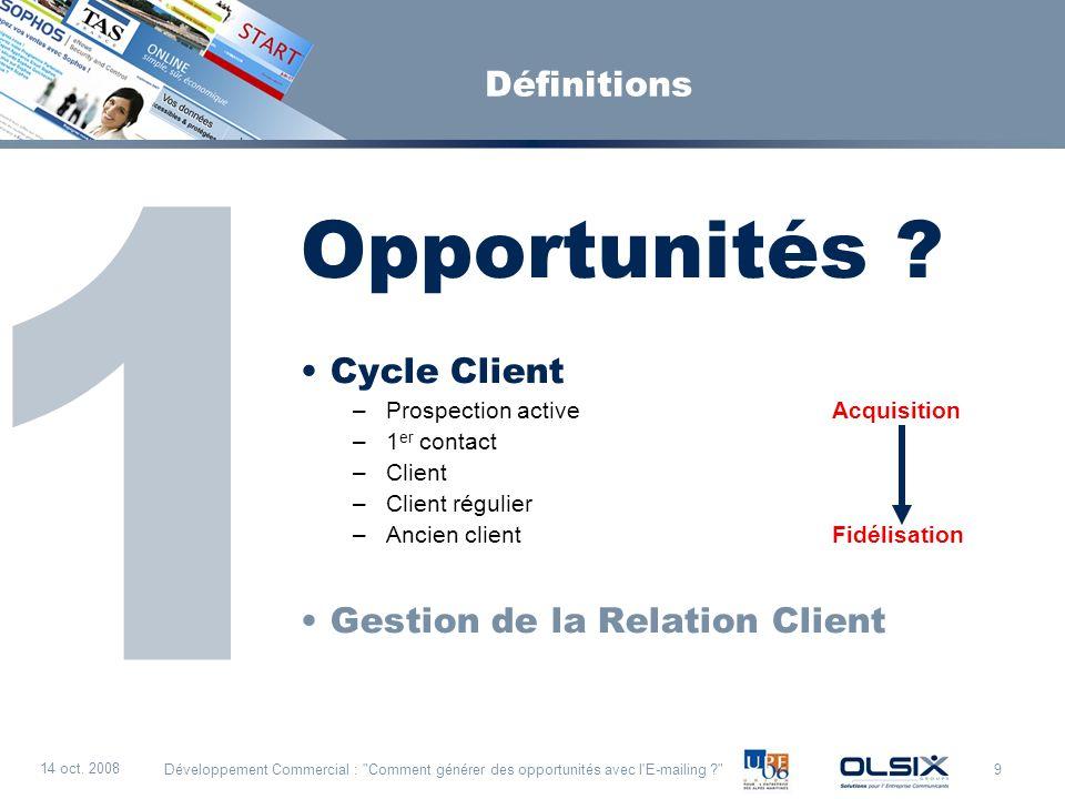 Opportunités 1 Définitions Cycle Client