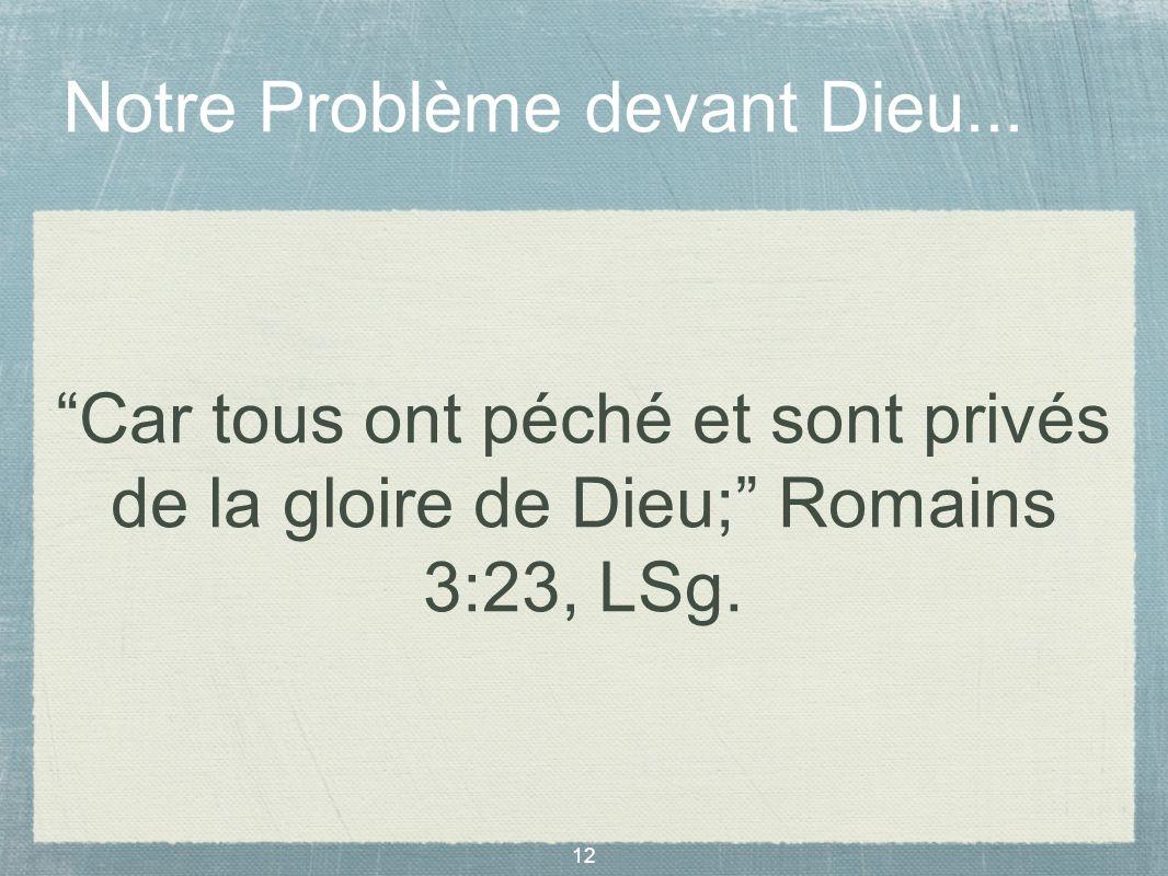 Notre Problème devant Dieu...