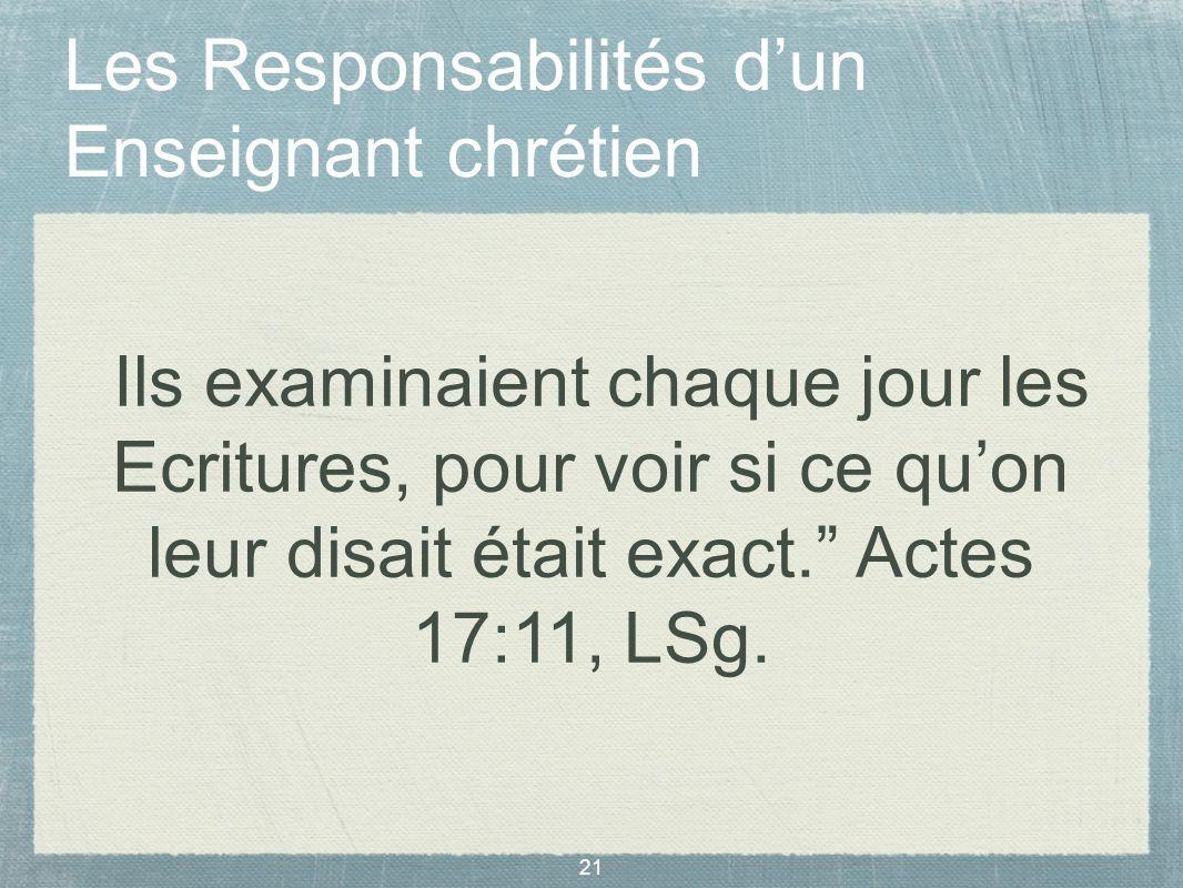 Les Responsabilités d'un Enseignant chrétien