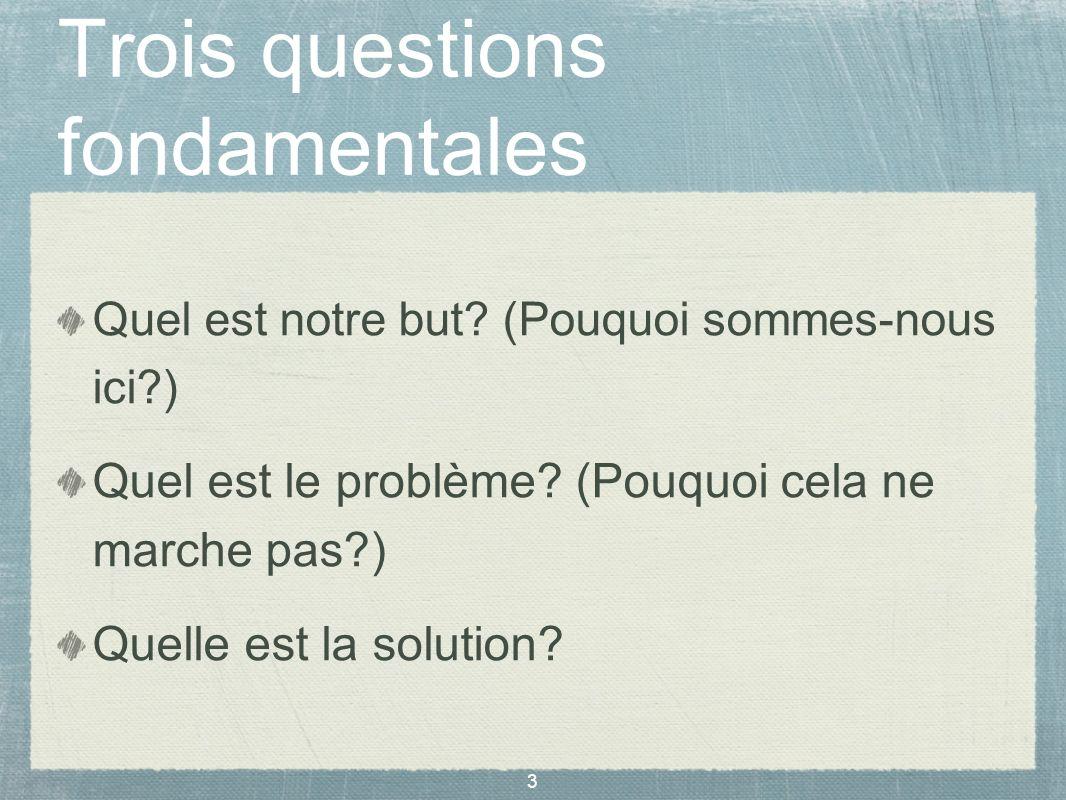 Trois questions fondamentales