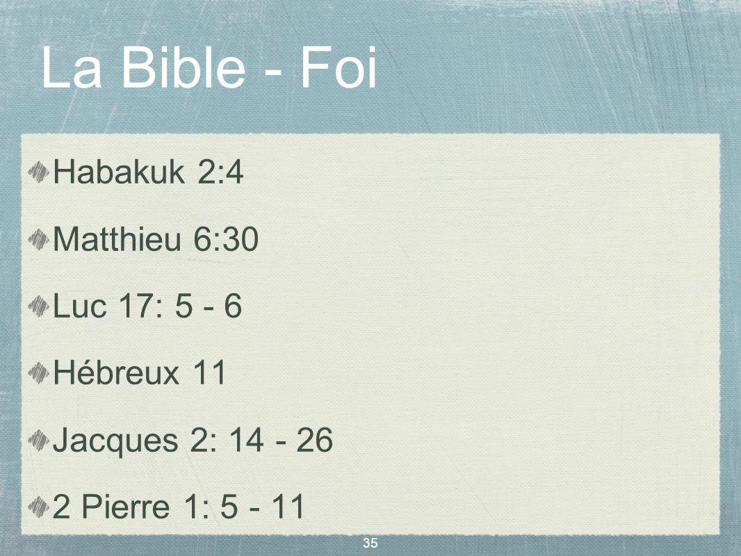La Bible - Foi Habakuk 2:4 Matthieu 6:30 Luc 17: 5 - 6 Hébreux 11