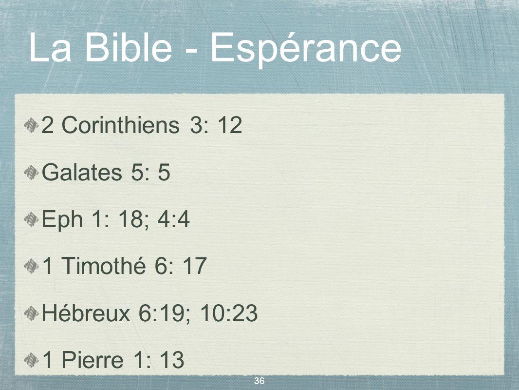 La Bible - Espérance 2 Corinthiens 3: 12 Galates 5: 5 Eph 1: 18; 4:4